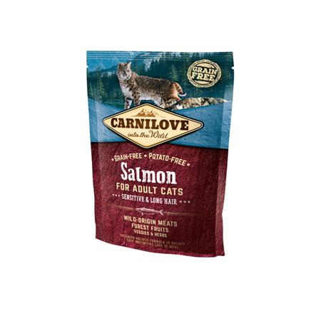 Carnilove Cat Salmon Sensitive & Long Hair 400 g, Łosoś dla kotów długowłosych i z wrażliwym układem trawiennym