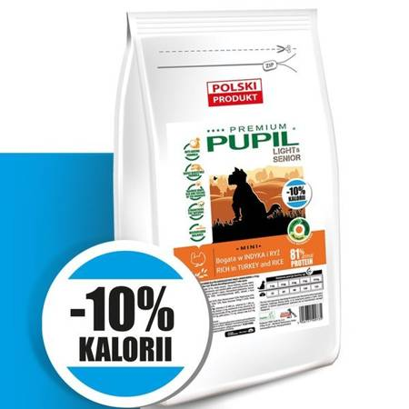 PUPIL Premium LIGHT & SENIOR MINI bogata w indyka i ryż 10 kg