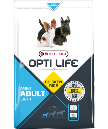 VERSELE-LAGA Opti Life Adult Light Mini 2,5 kg - karma dla otyłych, dorosłych psów ras małych i miniaturowych ( drób )