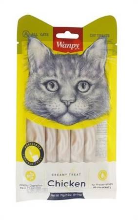 WANPY CREAMY TREAT CHICKEN 5x14g Płynna przekąska dla kota o smaku kurczaka